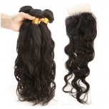 3 Bundles Hair with 1pc Lace Closure Water Wave Virgin Peruvian Hair PL0012