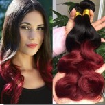 3pcs/lot Brazilian Ombre Burgundy Body Wave Remy Hair Two Tone Color BR0049