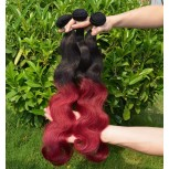 2pcs/lot Body Wave Ombre Burgundy Brazilian Remy Hair Weave Two Tone Color BR0016