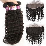 3 Bundles Deep Curly Hair with 1pc 13''*4'' Lace Frontal Virgin Brazilian Hair BF008
