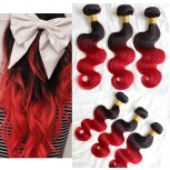 3pcs/lot Brazilian Ombre Body Wave Remy Hair Two Tone Color 1B/Red BR0044