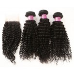 3 Bundles Kinky Curly Hair with 1pc Lace Closure Virgin Malaysian Hair ML008