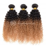Brazilian Ombre Kinky Curly Remy Hair Two Tone Color 1B/27# BR0031