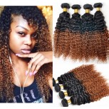 3pcs/lot Brazilian Ombre Kinky Curly Remy Hair Two Tone Color 1B/30# BR0039