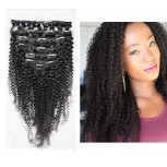 120G Brazilian Kinky Curly Clip in Human Hair Extensions CR0023