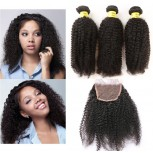 3 Bundles Afro Kinky Curly Hair with 1pc Lace Closure Virgin Brazilian Hair BL0020