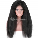 Kinky Straight High Density 360 Lace Frontal Wigs 100% Brazilian Hair WKS360