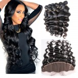 3 Bundles Loose Wave Hair with 1pc 13''*4'' Lace Frontal Virgin Brazilian Hair BF004