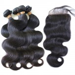3 Bundles Body Wave Hair with 1pc Lace Closure Virgin Malaysian Hair ML004