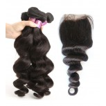 3 Bundles Loose Wave Hair with 1pc Lace Closure Virgin Malaysian Hair ML009