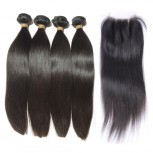 3 Bundles Straight Hair with 1pc Lace Closure Virgin Peruvian Hair PL004