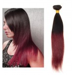 Brazilian Remy Hair Straight Ombre Burgundy Hair Weave BR0018