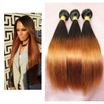 Brazilian Ombre Hair Straight Remy Hair Extensions Two Tone Color 1B/30 BR006