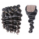 3 Bundles Brazilian Loose Wave Virgin Hair with Silk Base Closure BS003