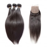 3 Bundles Brazilian Straight Virgin Hair with Silk Base Closure BS002