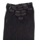 #1B Black Clip In Hair Extensions Straight CR0014
