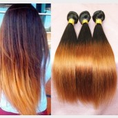 3pcs/lot Brazilian Ombre Straight Remy Hair Two Tone Color 1B/30# BR0037