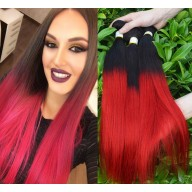 3pcs/lot Brazilian Ombre Straight Remy Hair Two Tone Color 1B/Red BR0045