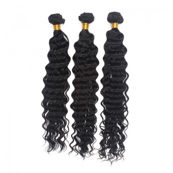 3pcs/lot Jet Black(#1) Deep Wave Curly Virgin Brazilian Hair Mixed Length BD0012