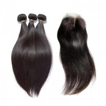 3 Bundles Straight Hair with 1pc Lace Closure Middle Part Virgin Brazilian Hair BL004