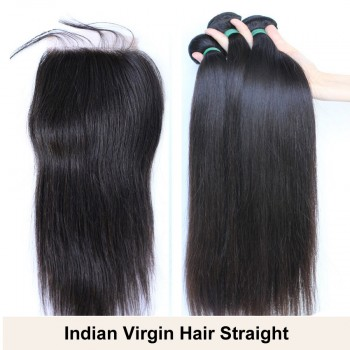 3 Bundles Hair with 1pc Lace Closure Straight Virgin Indian Hair IL001