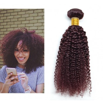 Brazilian Virgin Hair Weave Kinky Curly 99J# Burgundy BV0040