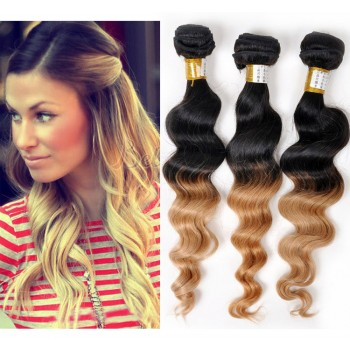 3pcs/lot Brazilian Ombre Loose Wave Remy Hair Two Tone Color 1B/27# BR0041