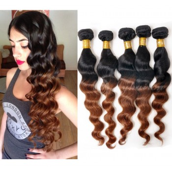 3pcs/lot Brazilian Ombre Loose Wave Remy Hair Two Tone Color 1B/30# BR0036