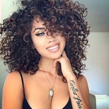 14inch Small Bouncy Curls 100% Brazilian Human Hair Lace Front Wigs LFW0053