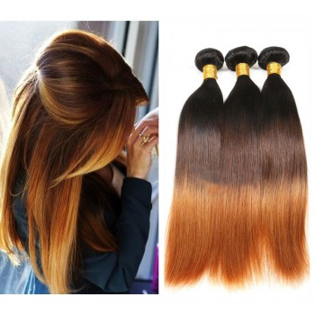 3pcs/lot Brazilian Straight Ombre Remy Hair Extensions Three Tone Color 1B/4/30# BR0063