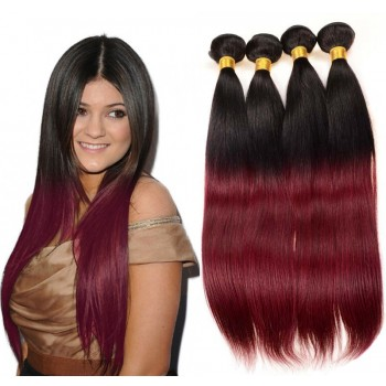 3pcs/lot Brazilian Straight Ombre Burgundy Remy Hair Weave Two Tone Color BR0050